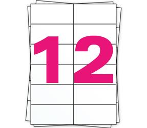 Afbeelding van A4 Stickerbögen, 12 pro Bogen, weiß, permanent, 105mm x 49mm