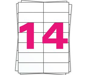 Afbeelding van A4 Stickerbögen, 14 pro Bogen, weiß, permanent, 105mm x 42mm