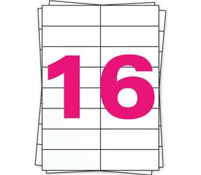 Afbeelding van A4 Stickerbögen, 16 pro Bogen, weiß, permanent, 105mm x 37mm