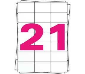 Afbeelding van A4 Stickerbögen, 21 pro Bogen, weiß, permanent, 70mm x 42,2mm