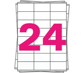 Afbeelding van A4 Stickerbögen, 24 pro Bogen, weiß, permanent, 70mm x 36mm