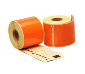 Dymo 99014 kompatible Etiketten, 101mm x 54mm, 220 Etiketten, orange, permanent