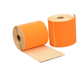 Thermische Versandetiketten, 102mm x 150mm, 300 Etiketten, 25mm Hülse, orange, permanent