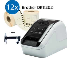 Brother QL-810W Drucker + 12 Rollen Brother DK-11202 kompatible Etiketten 62mm x 100mm